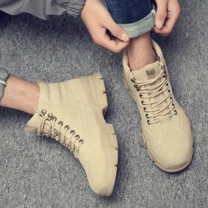 马丁靴男新款男士秋冬高帮靴子百搭工装靴战狼军靴真皮男鞋沙漠靴