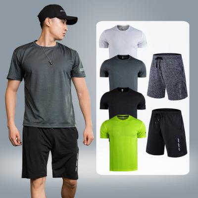 新款大码运动套装男夏季网布透气健身服套装户外休闲跑步两件套装