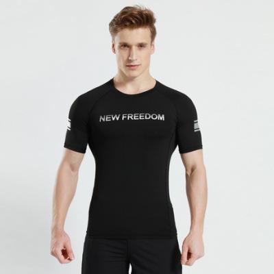猎星速干衣短袖紧身高弹透气健身跑步训练字母运动T恤12018