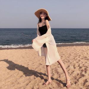 泰国海边度假轻薄飘逸百褶雪纺开衫中长宽松薄款防晒衣女