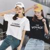 2019夏季新款韩版外贸宽松女装字母印花纯棉女式白色圆领短袖T恤