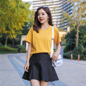 【精梳棉】女士纯棉t恤2019夏季新款韩版宽松印花休闲半袖打底衫