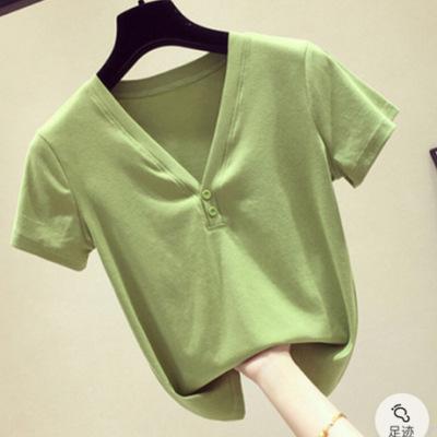 绿色V领短袖女T恤上衣2019夏季新款韩版ins修身体恤打底衫半袖潮