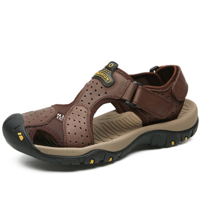 夏季真皮男凉鞋男士沙滩鞋包头户外耐磨软底防滑男式凉鞋头层牛皮