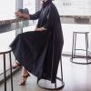 春夏长袖衬衫女韩版中长款宽松大码时尚黑白不规则休闲衬衣连衣裙