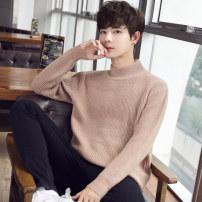 厂家直销2019冬季新款男士半高领毛衣纯色针织衫毛衣男装批发