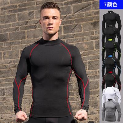 男士高领健身长袖 PRO运动跑步长袖T恤 秋冬弹力速干立领卫衣1058
