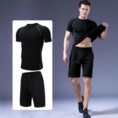 网店代理运动弹力健身服男士速干紧身衣跑步男式套装训练健身衣