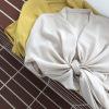 【歌铭】2019新款设计小众宽松V领绑带衬衫女装韩版长袖衬衣DN030