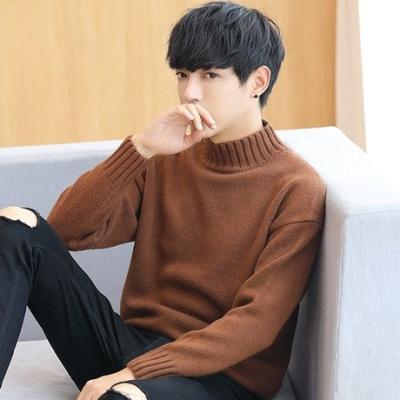 2019秋冬季新款毛衣男士韩版半高领针织衫加厚男装