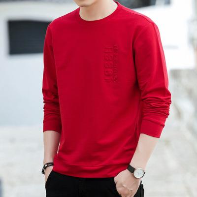 春秋新款时尚卫衣男式韩版潮流纯棉休闲运动青年长袖T恤百搭衣服