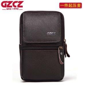 跨境专供外贸真皮腰包 时尚多功能双拉链手机腰包男士腰带包