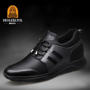 秋季新款潮流韩版真皮内增高男鞋6cm男士隐形增高鞋8cm运动休闲鞋