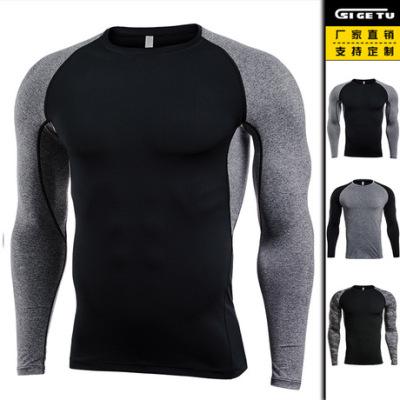 跨境爆款 长袖健身服男士 速干T恤高弹紧身衣跑步pro户外运动服装