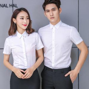 职业装衬衫女短袖2019夏季男式衬衣商务休闲上衣男女同款免烫平纹