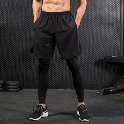 男士紧身裤假两件 健身运动跑步训练 亚马逊休闲弹力速干长裤7010