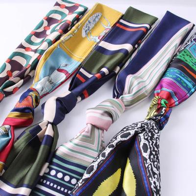 韩版新款短款百搭小丝巾 多彩花色时尚小领巾 真丝垂感丝巾批发