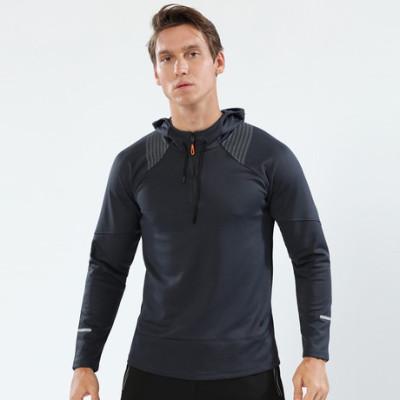 猎星秋季新款带帽长袖套头运动卫衣弹力训练服健身跑步服90111