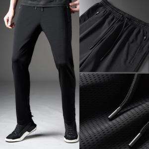 春夏高弹冰丝裤子男女士薄款透气宽松网眼速干休闲运动空调裤长裤