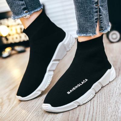 2019春季新款男士休闲鞋透气情侣鞋男女飞织鞋一脚蹬袜子鞋跨境