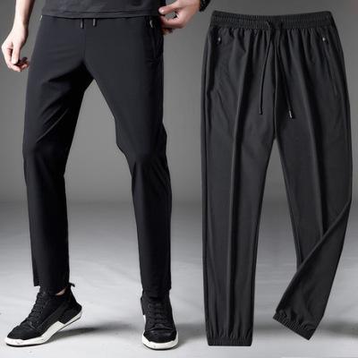 夏季速干冰丝薄款透气休闲裤男宽松大码松紧腰高弹健身跑步运动裤