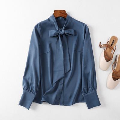 长袖衬衫女2019秋季新款韩版纯色蝴蝶结职业气质OL雪纺女装上衣