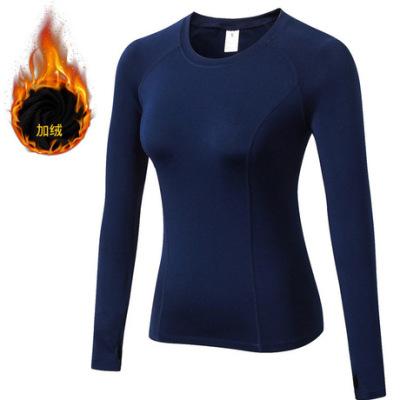冬装加绒 女士PRO紧身运动健身跑步训练长袖 速干弹力T恤衣服5021