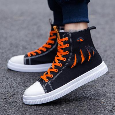 2019春夏秋季新款韩版男士休闲高帮帆布鞋百搭潮单嘻哈学生板鞋子