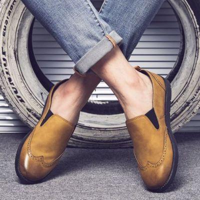 兜川春季新款一脚蹬男士懒人休闲鞋韩版套脚乐福鞋英伦男鞋子DC62