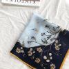 丝巾批发出国送礼回礼真丝跨境秋冬装饰素绉缎53cm花卉领巾小方巾
