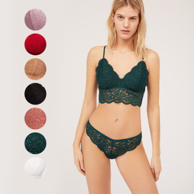 夏季新款爆款薄棉莫代尔内衬舒适蕾丝聚拢无钢圈小胸性感文胸套装