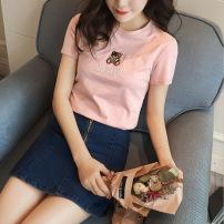 实拍 韩版夏季新款女装2019小熊刺绣上衣修身显瘦圆领纯棉短袖T恤