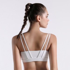新款中强度运动文胸女 聚拢防震四肩带美背健身房跑步瑜伽内衣bra