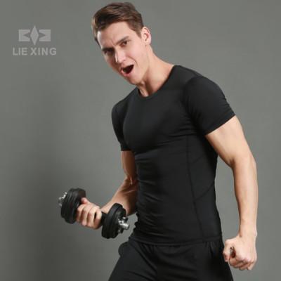紧身短袖男运动T恤圆领健身服纯色跑步T恤速干厂家定制logo12001
