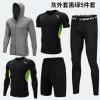 PRO新款健身服 运动套装男 男士连帽卫衣五件套 篮球跑步训练服