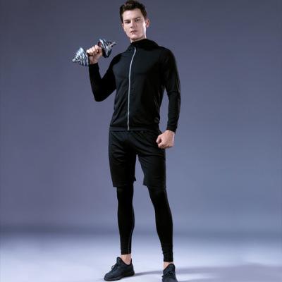 2018秋季男士健身服六件套新款速干紧身衣跑步健身房训练运动服男