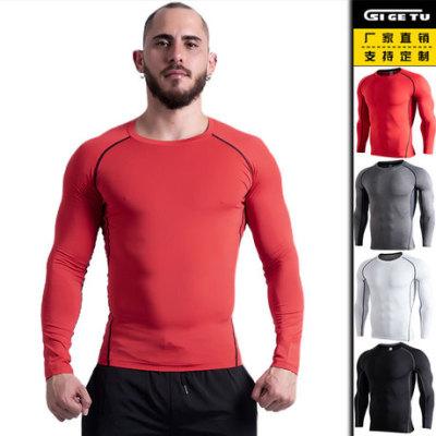 新款健身上衣男士快干弹力跑步T恤训练跑步速干紧身长袖运动服装