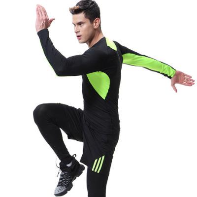 跨境 健身服男士长袖三件套紧身衣跑步套装弹力速干运动套装秋冬