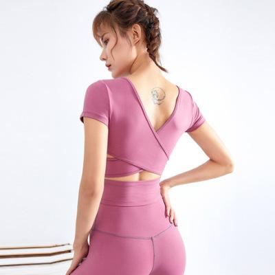 新款跨境跑步健身衣女韩版短袖紧身衣运动t恤透气速干瑜伽服上衣