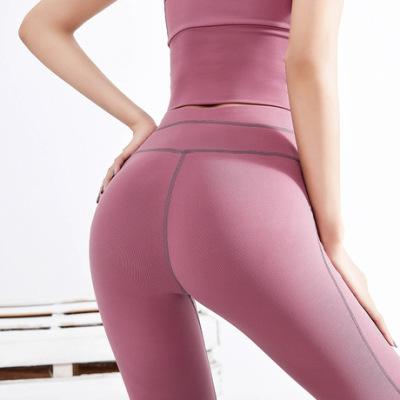 新款跨境欧美高腰裸感紧身瑜伽裤女跑步运动裤速干透气纯色健身裤