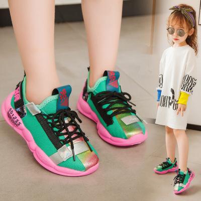 跨境专供儿童运动鞋软底男童网鞋网面老爹鞋中大童鞋子休闲童鞋潮