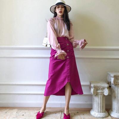 2019韩国小众设计师秋新款领口花边不规则纹理百搭薄款长袖衬衫女