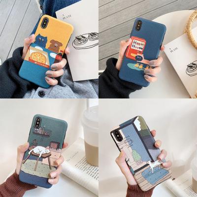 插画华为荣耀p30pro手机壳蚕丝纹全包适用苹果iphonexs磨砂软壳