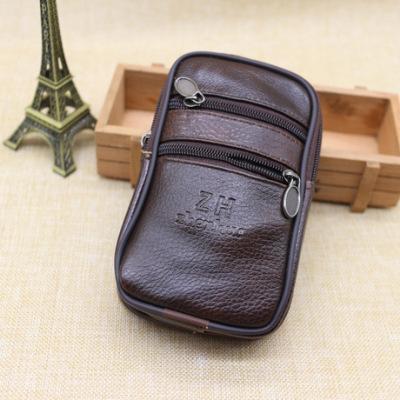 穿皮带手机包 真皮加厚6寸智能手机腰包 男士零钱Bag厂家定制LOGO