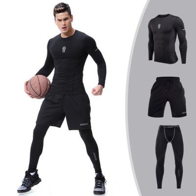 运动套装男 训练篮球长袖健身服三件套压缩紧身速干衣跑步服套装