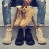 马丁靴夏季新款男士美式英伦潮流高帮百搭工装靴军靴真皮透气男靴