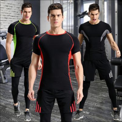 运动套装男弹力速干T恤健身房pro健身服三件套装压缩跑步服装夏季