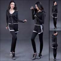 春季新款韩版瑜珈套装 健身房速干修身长裤三件套跑步运动外套女