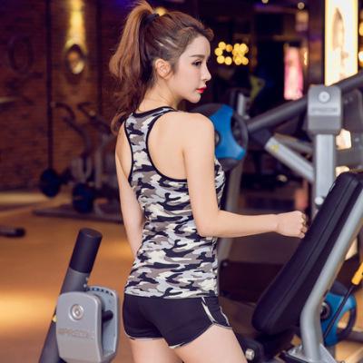 夏新款瑜伽服品牌迷彩运动套装 速干背心含胸垫健身瑜伽服
