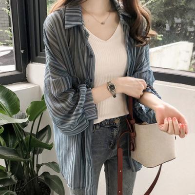 2019新款韩版宽松灯笼袖条纹衬衫雪纺气质通勤甜美防晒衫开衫女